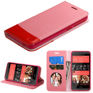 Premium Leather Wallet Book Case for HTC Desire 650 / 626 / 555 / 550 / 530 - Pink