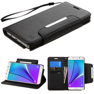 Designer Leather Wallet Shell Case for Samsung Galaxy Note 5 - Black