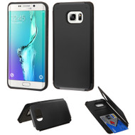 Credit Card Hybrid Kickstand Case for Samsung Galaxy S6 Edge Plus - Black