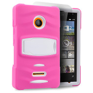 *Sale* Maximum Armor Hybrid Case for Microsoft Lumia 435 - Hot Pink White