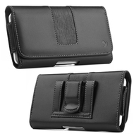 Premium Leather Magnetic Holster Hip Pouch Case - Black 02758