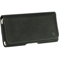 Premium Leather Holster Hip Pouch Case - Black