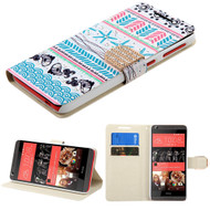 Art Design Portfolio Leather Wallet for HTC Desire 650 / 626 / 555 / 550 / 530 - Jumping Fishes