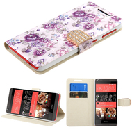 Art Design Portfolio Leather Wallet for HTC Desire 650 / 626 / 555 / 550 / 530 - Fresh Purple Flowers