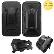 Tough Armor Hybrid Kickstand Case with Holster for Motorola Moto G 3rd Generation - Black