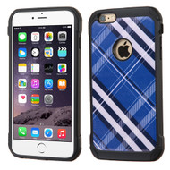 Tough Anti-Shock Hybrid Case for iPhone 6 Plus / 6S Plus - Plaid Blue