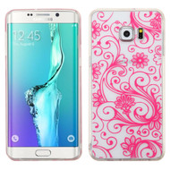 Floral Rubberized Crystal Case for Samsung Galaxy S6 Edge Plus - Hot Pink