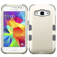 Military Grade Certified TUFF Hybrid Case for Samsung Galaxy Core Prime / Prevail LTE - Pearl White Grey