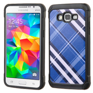 Tough Anti-Shock Hybrid Case for Samsung Galaxy Grand Prime - Plaid Blue