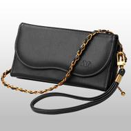 Posh Crossbody Leather Wallet Wristlet Bag - Black
