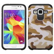 Hybrid Multi-Layer Armor Case for Samsung Galaxy Core Prime / Prevail LTE - Camouflage Brown