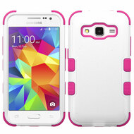 Military Grade Certified TUFF Hybrid Case for Samsung Galaxy Core Prime / Prevail LTE - White Hot Pink