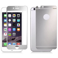 Premium Round Edge Tempered Glass Screen Protector for iPhone 6 Plus / 6S Plus - Silver Front & Back