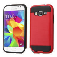 Brushed Hybrid Armor Case for Samsung Galaxy Core Prime / Prevail LTE - Red