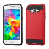Brushed Hybrid Armor Case for Samsung Galaxy Grand Prime - Red