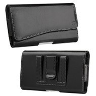 Premium Leather Nylon Hip Pouch Case - Black