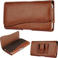*SALE* Premium Leather Nylon Hip Pouch Case - Brown