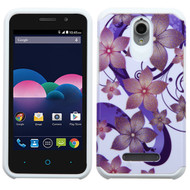 *CLEARANCE* Hybrid Multi-Layer Armor Case for ZTE Obsidian - Hibiscus Flower Romance Purple