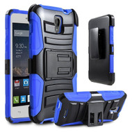 Advanced Armor Hybrid Kickstand Case with Holster for Alcatel OneTouch Elevate - Black Blue