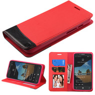 Premium Leather Wallet Book Case for Alcatel OneTouch Fierce XL - Red