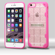 DefyR Hybrid Case with Stand for iPhone 6 Plus / 6S Plus - Square Clear Hot Pink
