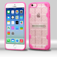 DefyR Hybrid Case with Stand for iPhone 6 / 6S - Square Clear Hot Pink