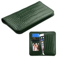 *SALE* Crocodile Embossed Genuine Leather Organizer Wallet Case - Green