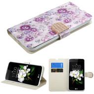 Art Design Portfolio Leather Wallet for LG K7 / K8 / Escape 3 / Treasure LTE / Tribute 5 - Fresh Purple Flowers
