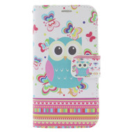 Executive Graphic Leather Wallet Case for iPhone 6 / 6S - Owl Butterfly