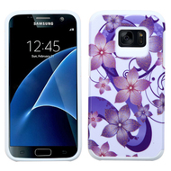 Hybrid Multi-Layer Armor Case for Samsung Galaxy S7 - Hibiscus Flower Romance Purple