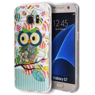 Graphic Rubberized Protective Gel Case for Samsung Galaxy S7 - Glitter Owl Green
