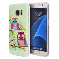Graphic Rubberized Protective Gel Case for Samsung Galaxy S7 - Glitter Owls