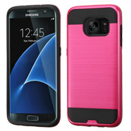 Brushed Hybrid Armor Case for Samsung Galaxy S7 Edge - Red