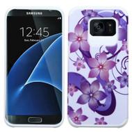 Hybrid Multi-Layer Armor Case for Samsung Galaxy S7 Edge - Hibiscus Flower Romance Purple