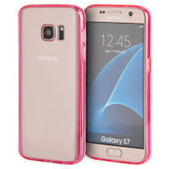 Glassy Transparent Gummy Cover for Samsung Galaxy S7 - Hot Pink