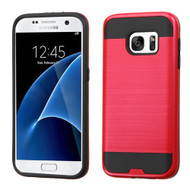 Brushed Hybrid Armor Case for Samsung Galaxy S7 - Red