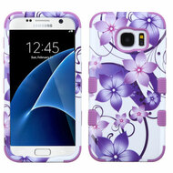 Military Grade Certified TUFF Image Hybrid Case for Samsung Galaxy S7 - Hibiscus Flower Romance Purple