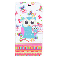 Executive Graphic Leather Wallet Case for iPhone 6 Plus / 6S Plus - Owl Butterfly