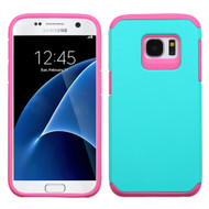 Hybrid Multi-Layer Armor Case for Samsung Galaxy S7 - Teal Hot Pink