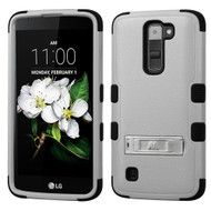 Military Grade Certified TUFF Hybrid Armor Case with Stand for LG K7 / Treasure LTE / Tribute 5 - Grey