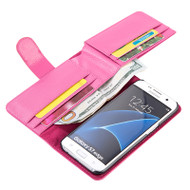 Deluxe Leather Wallet Case for Samsung Galaxy S7 Edge - Hot Pink