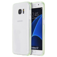 Crystal Clear TPU Case with Bumper Support for Samsung Galaxy S7 - Green