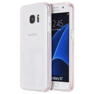 Crystal Clear TPU Case with Bumper Support for Samsung Galaxy S7 - Pink