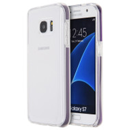 Crystal Clear TPU Case with Bumper Support for Samsung Galaxy S7 - Purple