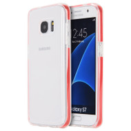 Crystal Clear TPU Case with Bumper Support for Samsung Galaxy S7 - Red