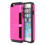 Hybrid Clip Card Case with Stand for iPhone 6 / 6S - Hot Pink