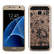 Floral Rubberized Crystal Case for Samsung Galaxy S7 - Black
