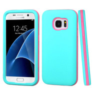 Verge Hybrid Armor Case for Samsung Galaxy S7 - Teal Hot Pink