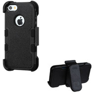 Military Grade Certified TUFF Hybrid Armor Case with Holster for iPhone SE / 5S / 5 - Black