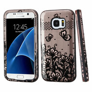 Verge Image Hybrid Armor Case for Samsung Galaxy S7 - Lace Flowers Rose Gold